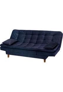 Sofa Cama Berlim Com 3 Lugares Assento Veludo Azul Marinho Base Madeira Clara - 49113 Sun House