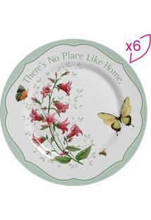 Conjunto De Pratos Para Sobremesa Floral Com Inscrição- Scalla Cerâmica