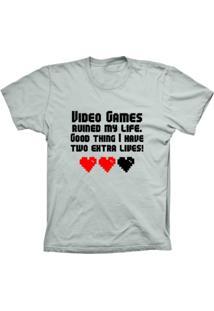 Camiseta Baby Look Lu Geek Games My Life Prata