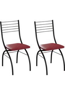 Conjunto Com 2 Cadeiras Devon Vinho E Preto