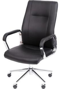 Cadeira De Escritorio Alta Zodia Preta Base Cromada - 41780 - Sun House