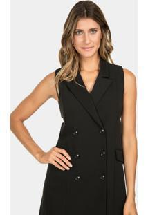 Vestido Com Botões Preto Reativo - Lez A Lez