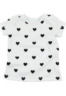 Camiseta Doll Up Coração Manga Curta Menina Branca