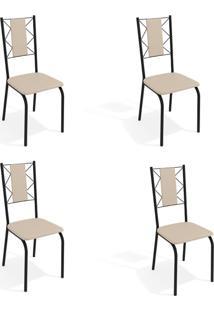 Conjunto Com 4 Cadeiras De Cozinha Lisboa Preto E Nude