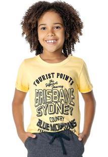 Camiseta Amarelo Degradê Com Estampa Aveludada