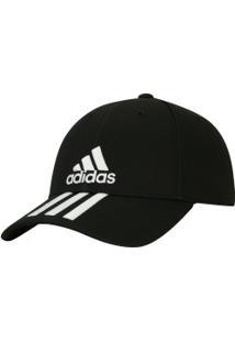 Boné Aba Curva Adidas Essentials 3S Cotton - Strapback - Adulto - Preto  Branco 317cdfbb28b5d
