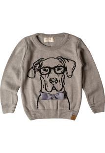 Casaco Suéter Infantil Mini Lord Tricô Dog Cinza-Mescla