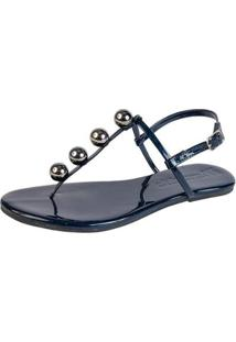 Rasteira Mercedita Shoes Verniz Fivela Feminina - Feminino-Azul Petróleo