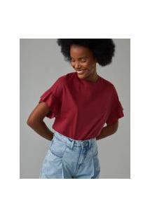 Amaro Feminino T-Shirt Malha Babado Mangas, Vermelho Escuro