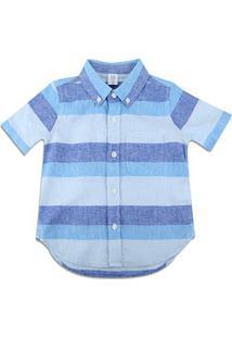 Camisa Infantil Gap Listrada Masculina - Masculino-Azul
