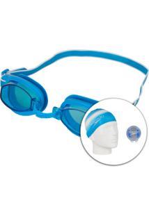 Kit De Natação Speedo Swim Com Óculos + Touca + Protetor De Ouvido - Adulto - Azul