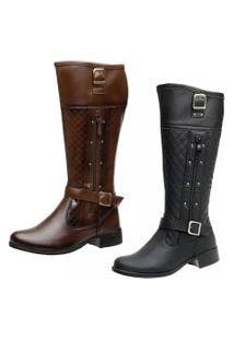 Bota Kit 2 Pares Montaria Ousy Shoes Cano Longo Preta Marrom