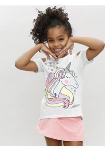 Blusa Infantil Open Shoulder Unicórnio Manga Curta Decote Redondo Cinza Mescla Escuro