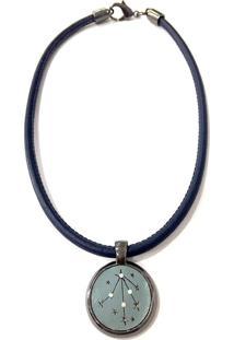 Colar Armazem Rr Bijoux Couro Estrela Com Cristais Azul Marinho - Incolor - Feminino - Dafiti