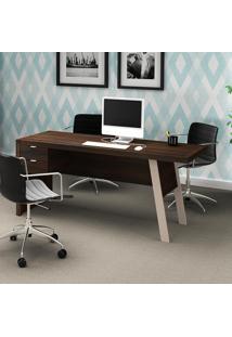 Mesa Para Computador Com 2 Gavetas Me4122 - Tecno Mobili - Tabaco / Fendi