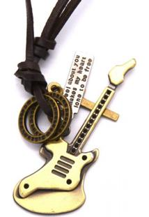 Colar Decovian Guitarra Marrom