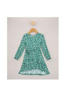 Vestido Infantil Midi Estampado Floral Com Faixa Para Amarrar Verde