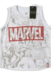 Camiseta Infantil Feminina Marvel Vingadores - Feminino-Off White