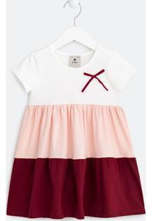 Vestido Infantil Com Recortes E Lacinhos -Tam 1 A 5 Anos
