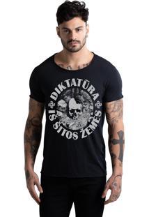 Camiseta Corte A Fio Joss Caveira Circulo Preta