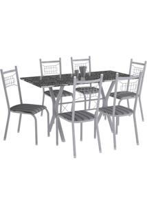 Conjunto De Mesa Miami Com 6 Cadeiras Lisboa Branco Prata E Preto Listrado