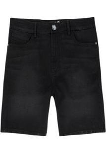 Bermuda Masculina Jeans Tradicional - Masculino-Preto