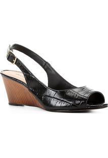 Peep Toe Couro Shoestock Anabela Croco - Feminino-Preto