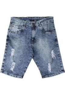 Bermuda Jeans Besni Destroyed Masculina - Masculino-Azul+Off White