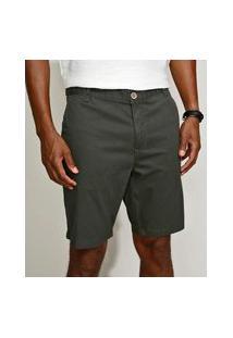 Bermuda De Sarja Masculina Slim Chino Verde Escuro