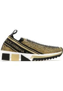 Dolce & Gabbana Tênis Slip On Com Strass - Dourado