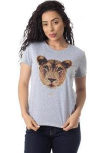 Camiseta Familia Leoa Thiago Brado 6027000001 Cinza - Cinza - Pp - Feminino
