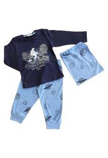 Pijama Infantil Menino Manga Longa Algodão Milon 7486 Azul Marinho