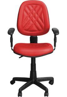Cadeira Pethiflex Ce-02Gpbt Giratória Couro Vermelho