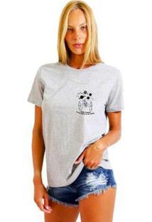Camiseta Joss Feminina Estampada Girl World Logo - Feminino-Mescla
