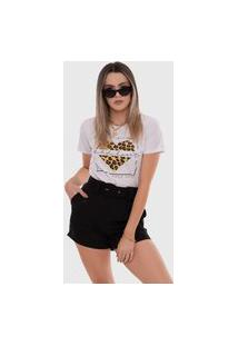 T-Shirt Let'S Buy Animal Print Branca