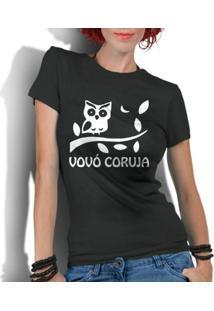 Camiseta Criativa Urbana Frases Vovó Coruja - Feminino-Preto