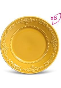 Jogo De Pratos Para Sobremesa Acanthus- Amarelo- 6Pã§Porto Brasil