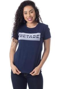 Camiseta Metade Meio Inteiro Thiago Brado 6027000006 Marinho - Marinho - Pp - Feminino-Marinho