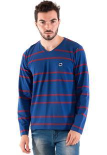 Camisa Konciny Decote V Azul