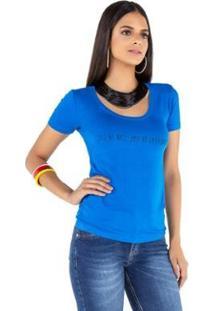 Camiseta T-Shirt Latifundio Feminina - Feminino-Azul