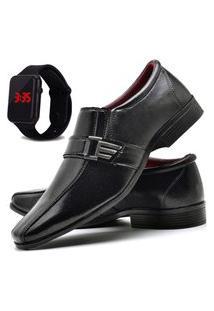 Sapato Social Masculino Asgard Com Relógio Led Db 809Lbm Preto