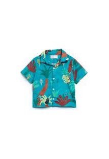 Camisa Para Bebê Fábula Em Algodão Estampado Est Festa Na Floresta Verde Limão - P