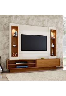 Painel Para Tv Até 47 Polegadas Belo Vale Com Led Branco Brilho Off-White E Freijo
