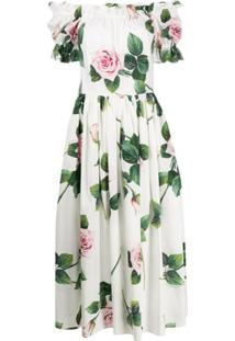 Dolce & Gabbana Vestido Midi Com Estampa De Rosas - Branco