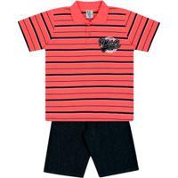Conjunto Listrado Mentaíndico Infantil Menino Meia Malha - Masculino -Vermelho de985713c3043