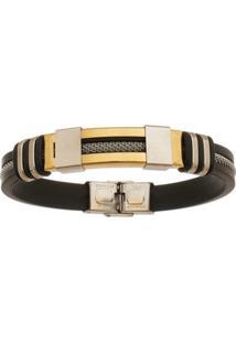 Bracelete De Aço Inox Gold Tudo Joias Com 12Mm De Largura E Cabo - Unissex