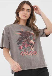 Camiseta Colcci Caveira Cinza