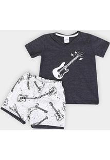 Pijama Infantil Candy Kids Meia Malha Guitarras Masculino - Masculino-Preto