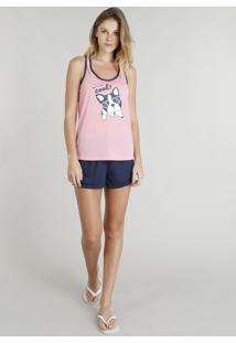 Pijama Feminino Com Estampa De Cachorrinho Rosa
