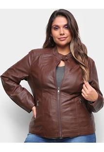 Jaqueta City Lady Plus Size Feminina - Feminino-Marrom